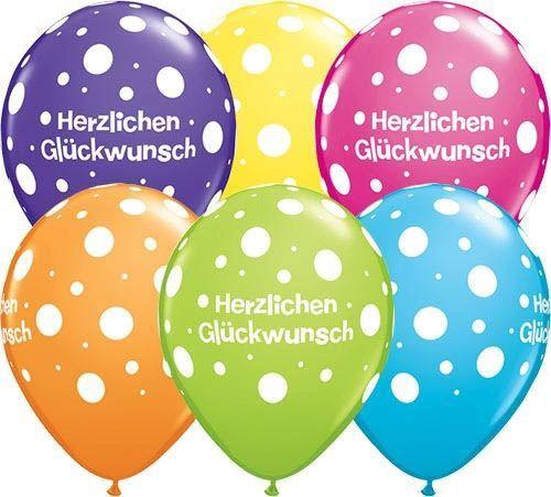 "Qualatex Latexballon ""Herzlichen Glückwunsch"" Punkte Ø 30cm"