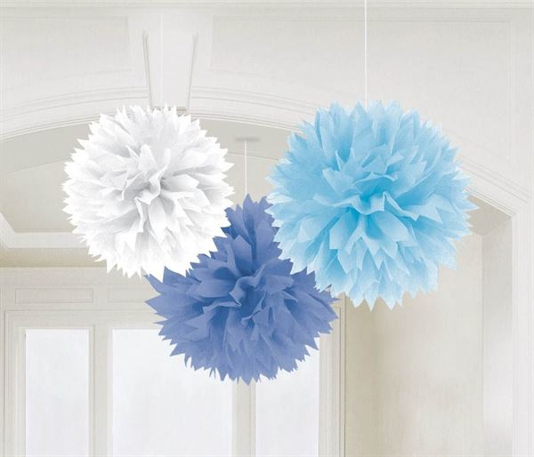 Baby Boy - 3 Fluffy Pom Poms Blau & Weiß