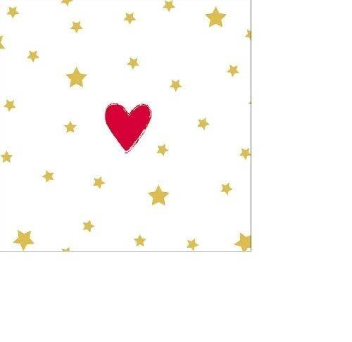 20 Kleine Servietten mit Herzchen und goldenen Sternen