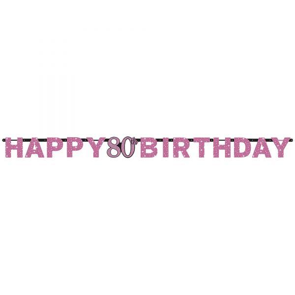 Sparkling Celebration Pink - Happy Birthday 80 Holo Girlande