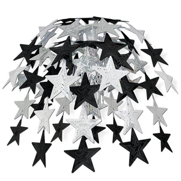 Sternen Hängedekoration Schwarz & Silber