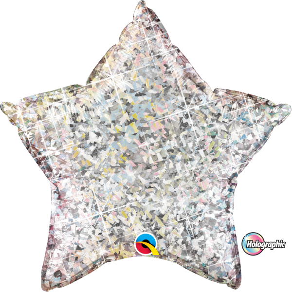 Folienballon Stern Holographic Silber 90 cm