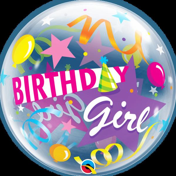 Bubble Ballon Birthday Girl 56cm