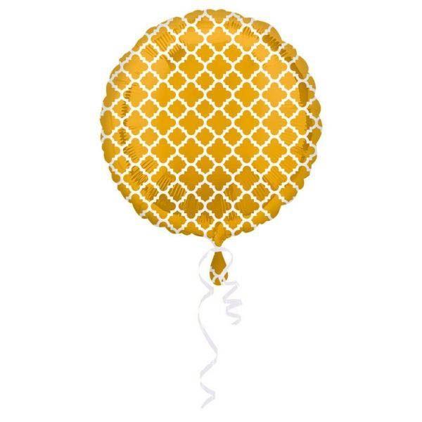 Folienballon Oriental Gold & Weiß 43cm