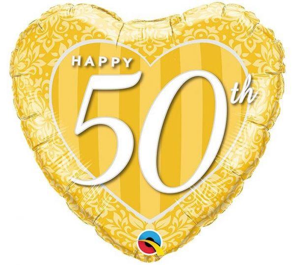 Folienballon Herz Happy 50th zur Goldhochzeit 45cm