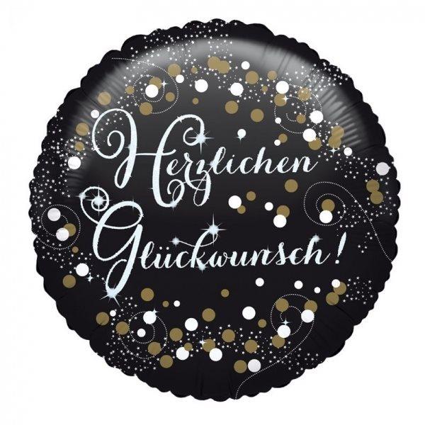 "Folienballon Sparkling ""Herzlichen Glückwunsch"" 43cm"
