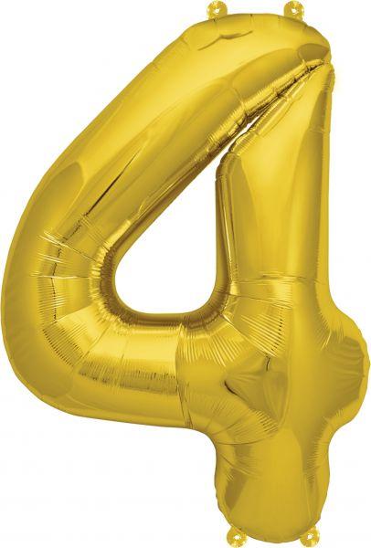 Luftballon Zahl 4 Gold 40cm