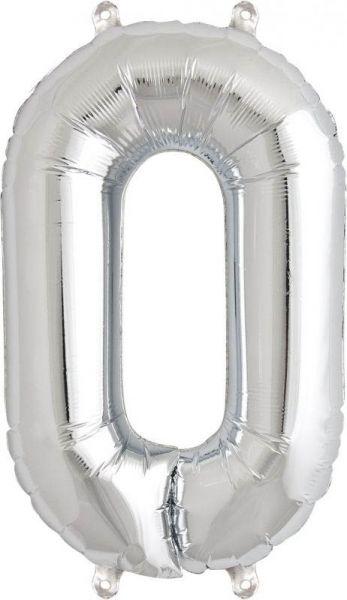 Luftballon Zahl 0 Silber 40cm