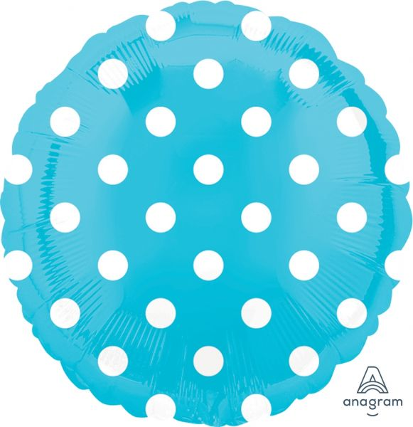 Folienballon Hellblau Polka Dots 45cm