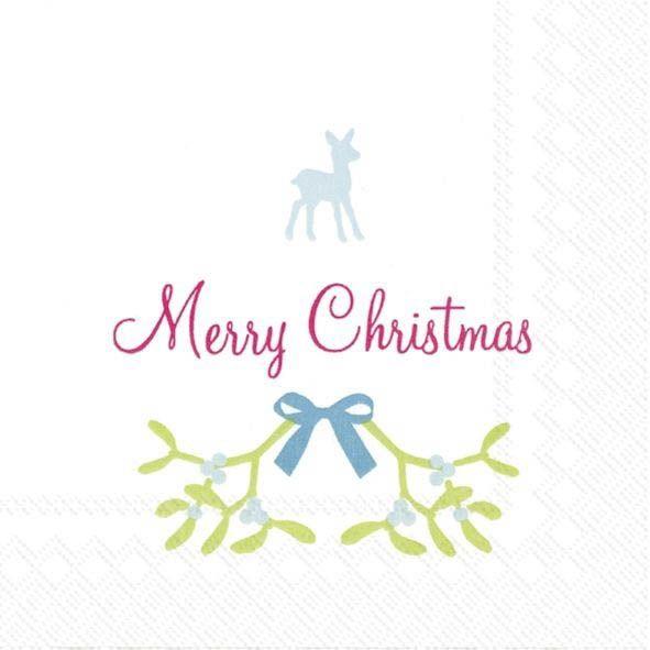 Merry Christmas mit Reh und Mispelzweig - 20 Cocktail Servietten