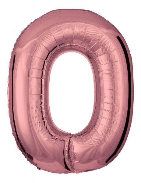 Folienballon Zahl 0 Roségold 100 cm