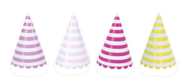 Pink - 8 gestreifte Hütchen