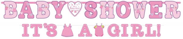 Shower With Love - Baby Shower It's a Girl Girlanden
