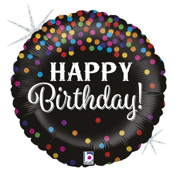 Folienballon Happy Birthday Konfetti 46cm
