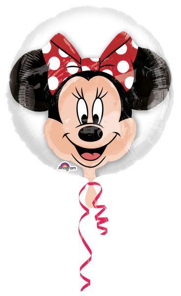 Folienballon im Ballon Minnie Maus mit roter Schleife 60cm