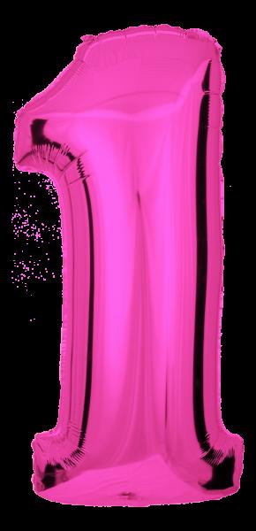 Folienballon Zahl 1 Pink 100cm