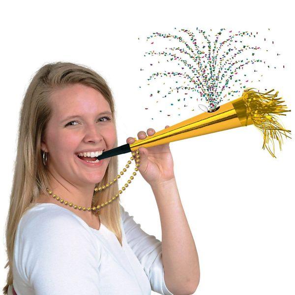 Konfetti Horn mit Kette Gold