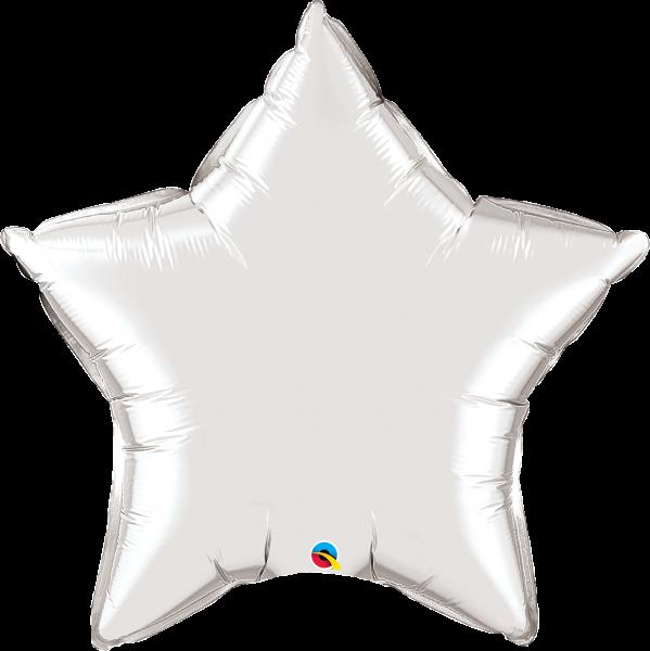 Folienballon Stern Silber 90 cm