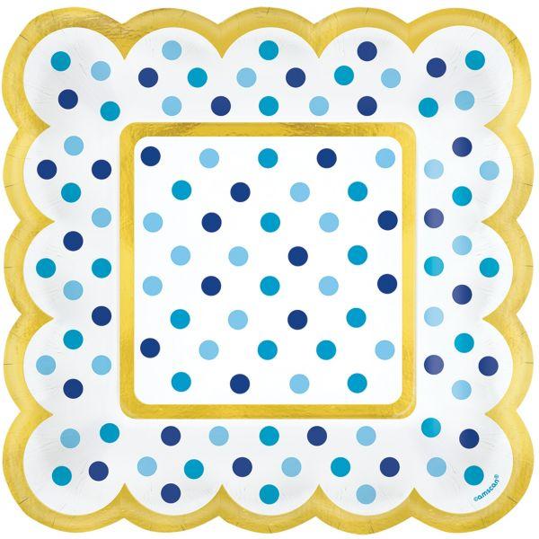 Paper Minis - 36 Quadratische Teller Blau