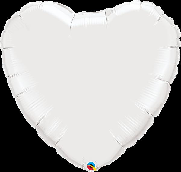 Folienballon Herz Weiß 90 cm