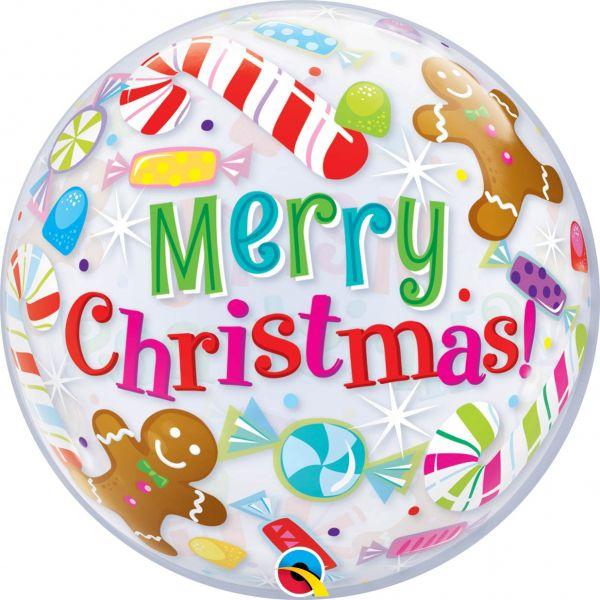 Bubble Ballon Merry Christmas & Süßigkeiten 56 cm