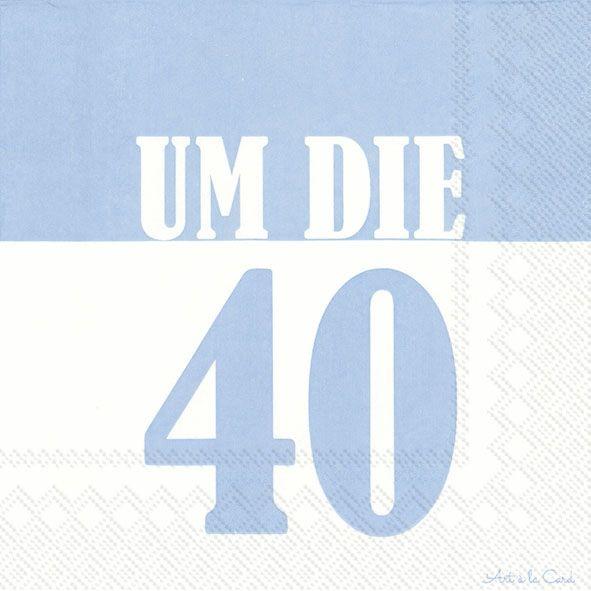 Um die 40 - 20 hellblaue Geburtstags-Servietten