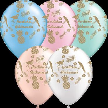 "Qualatex Latexballon ""Herzlichen Glückwunsch"" Pearl-Farben Ø 30cm"