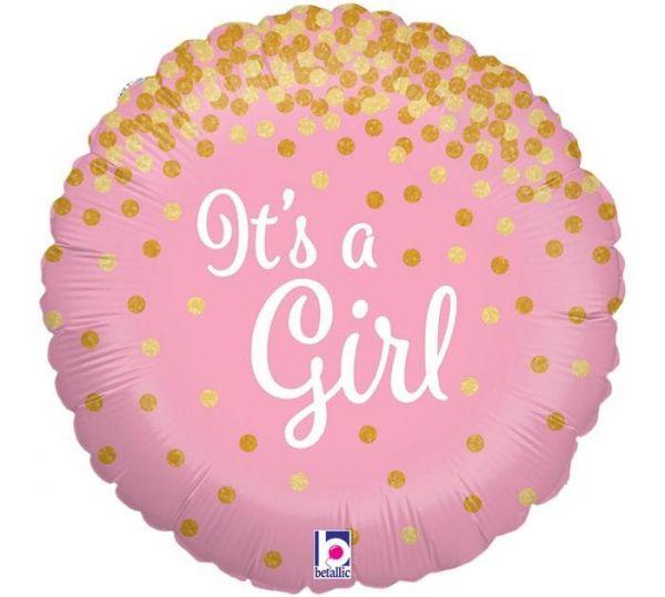 Folienballon Glitzer It's A Girl 45cm