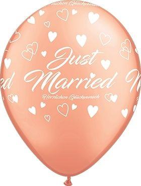 """Qualatex Latexballon """"Just Married"""" Herzen Roségold Ø 30cm"""