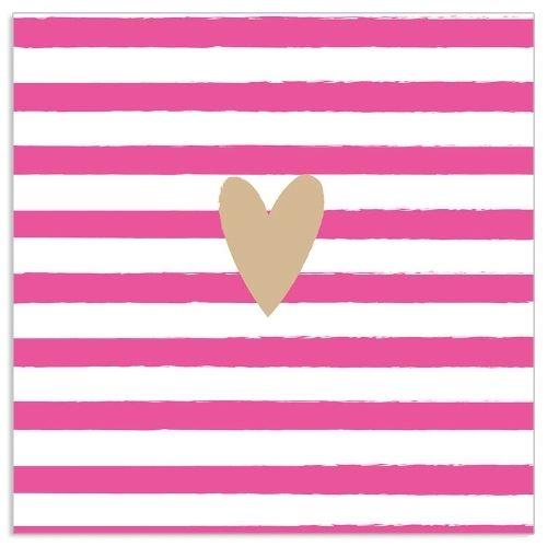 20 gestreifte Servietten mit Herz Pink & Gold