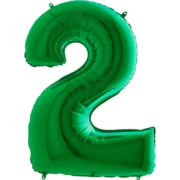 Folienballon Zahl 2 Grün 100cm