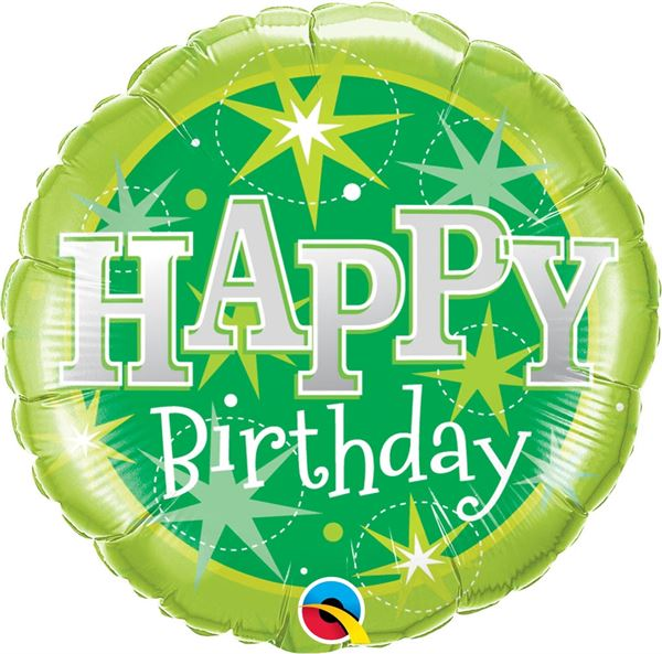 Folienballon Happy Birthday Sterne Grün 46cm