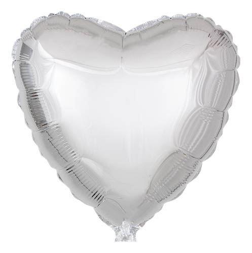 Folienballon Herz Silver 45cm