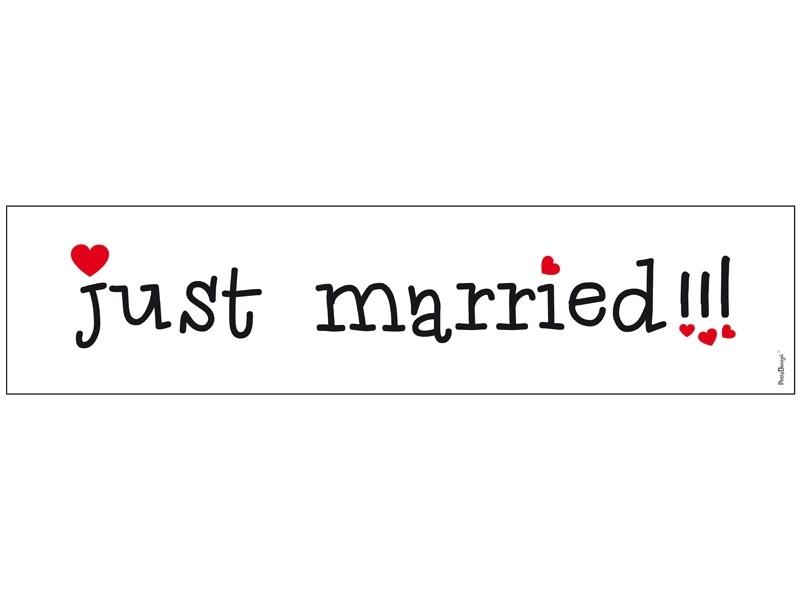 Nummernschild Aufkleber Zur Hochzeit Just Married Mit Herzchen