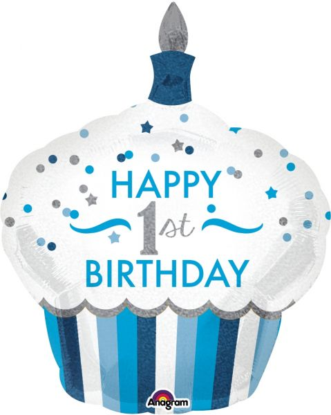 Folienballon Holo Cupcake 1st Birthday Boy 73x91cm