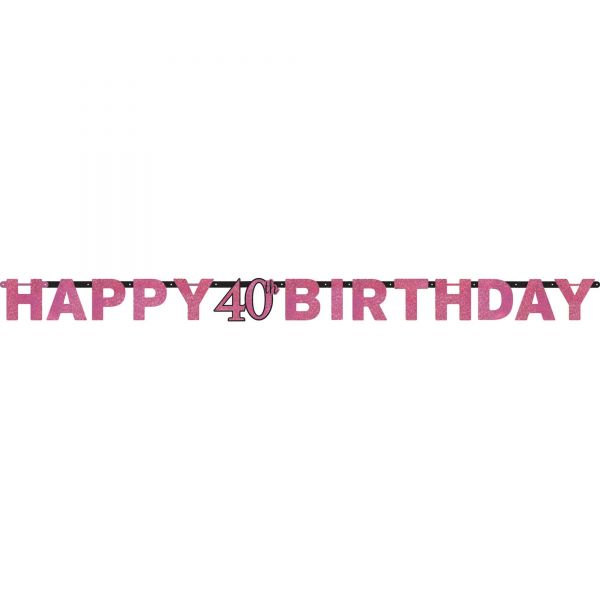Sparkling Celebration Pink - Happy Birthday 40 Holo Girlande