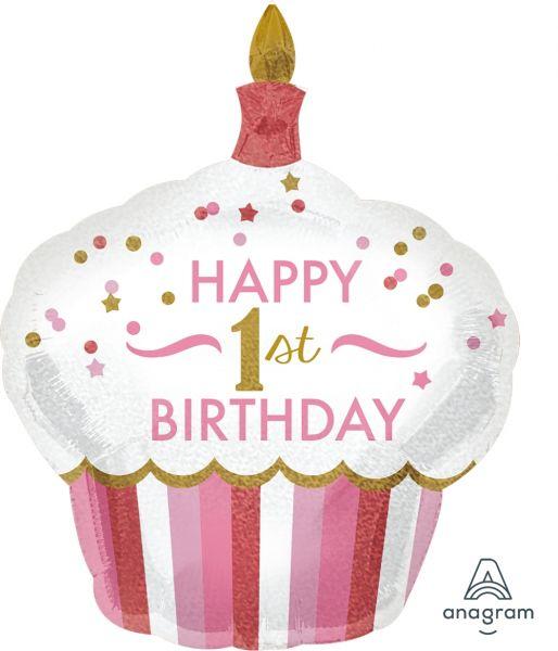 Folienballon Holo Cupcake 1st Birthday Girl 73x91cm