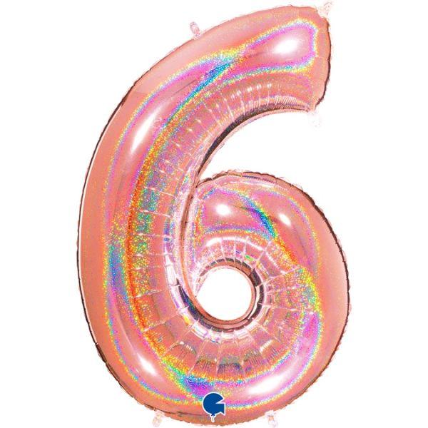 Folienballon Zahl 6 Glitter Roségold 100cm