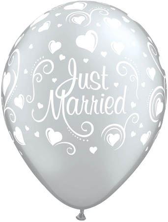 Qualatex Ballon Just Married mit Herzen Silber 30cm