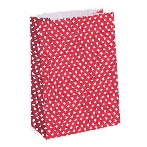 24 Rote Adventskalender Taschen mit weißen Sternen