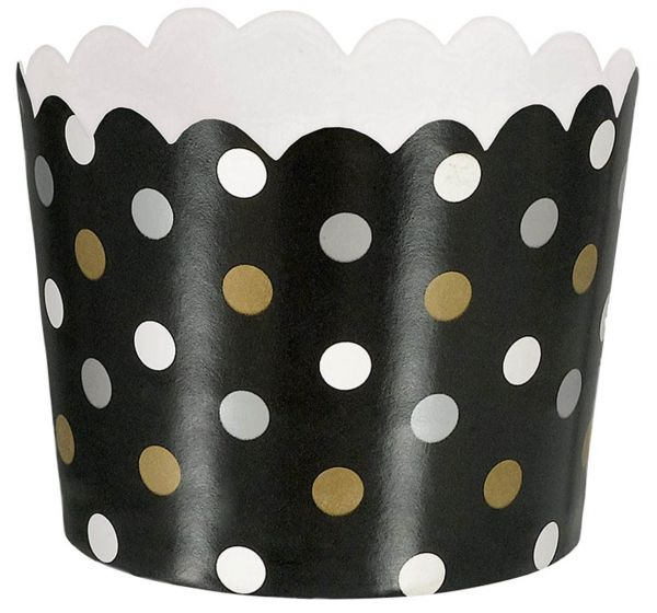 Paper Minis - 36 Dessertbecher Polka Dots Schwarz, Silber & Gold