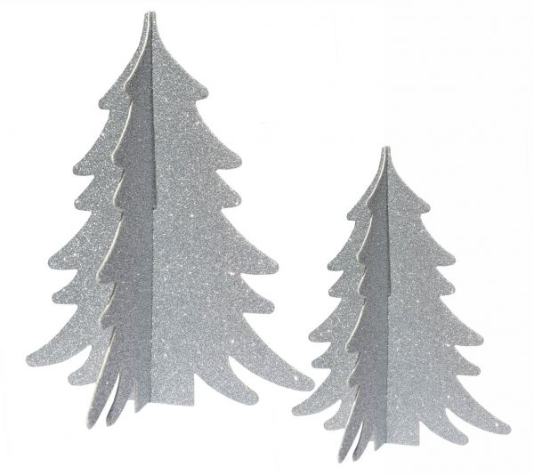 2 Silber-Glitter Tannenbäume