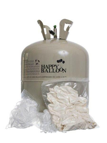 50er Ballonset: 50 weiße Herzballons (25 cm) und Bänder mit Helium Einweg-Flasche