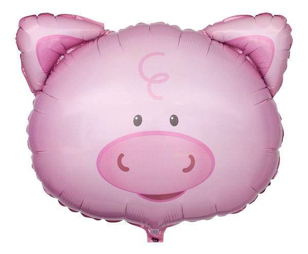 Folienballon Schweinchen Kopf 58x51 cm