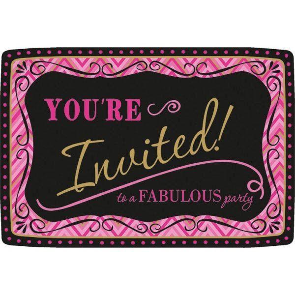 Born To Be Fabulous - 20 Einladungskarten mit Umschlägen