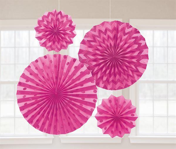 Pink - 4 Glitzer Fächer