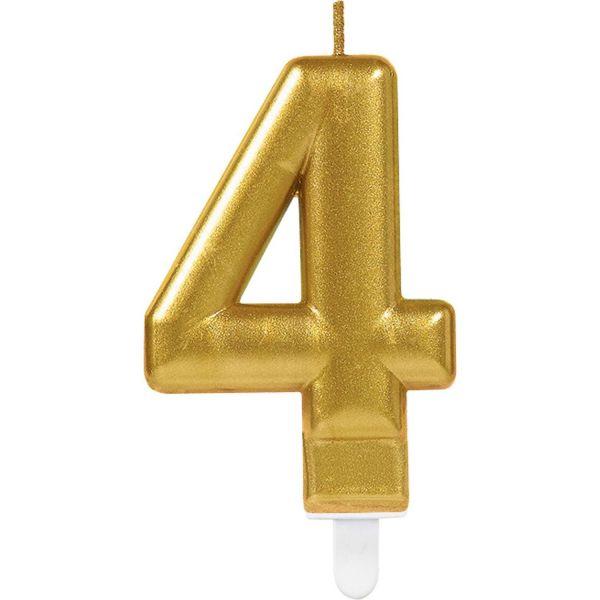 "Sparkling Celebrations Gold - Zahlenkerze ""4"""