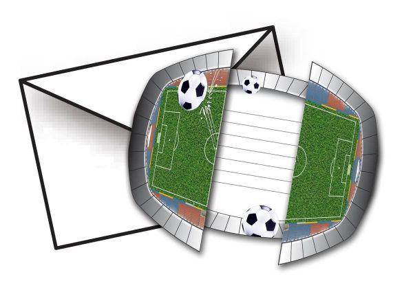 Fußball - 8 Stadion Einladungskarten mit Umschlägen