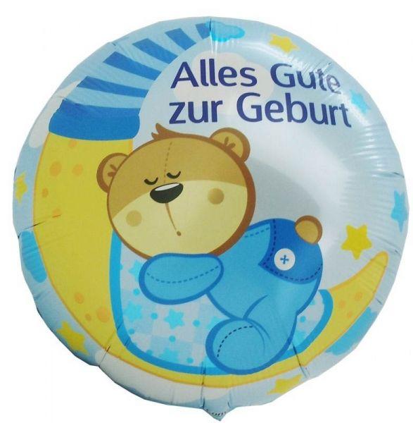 Folienballon Schlafender Teddy Alles Gute zur Geburt Blau 45 cm