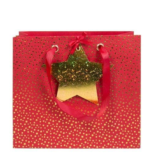 Rote Geschenktasche mit goldenen Sternchen
